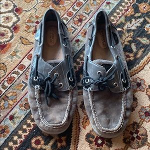 Grey suede patent leather sperrys